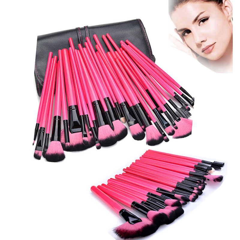 32Pcs Rose Red Makeup Brushes Tools Eye Shadow Foundation Eyebrow Makeup Brush Set Face Powder Blush Kabuki Make up Brushes Case(China (Mainland))