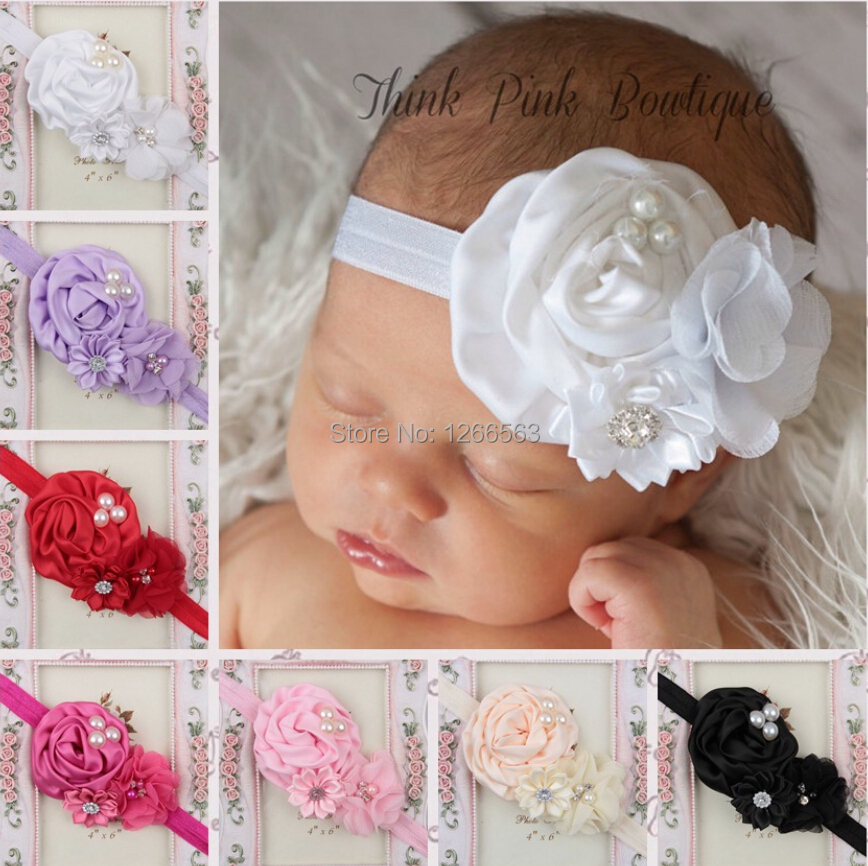 Elastic Headbands with pearl flower baby girl hair accessories infant rose flower hairbands headwear