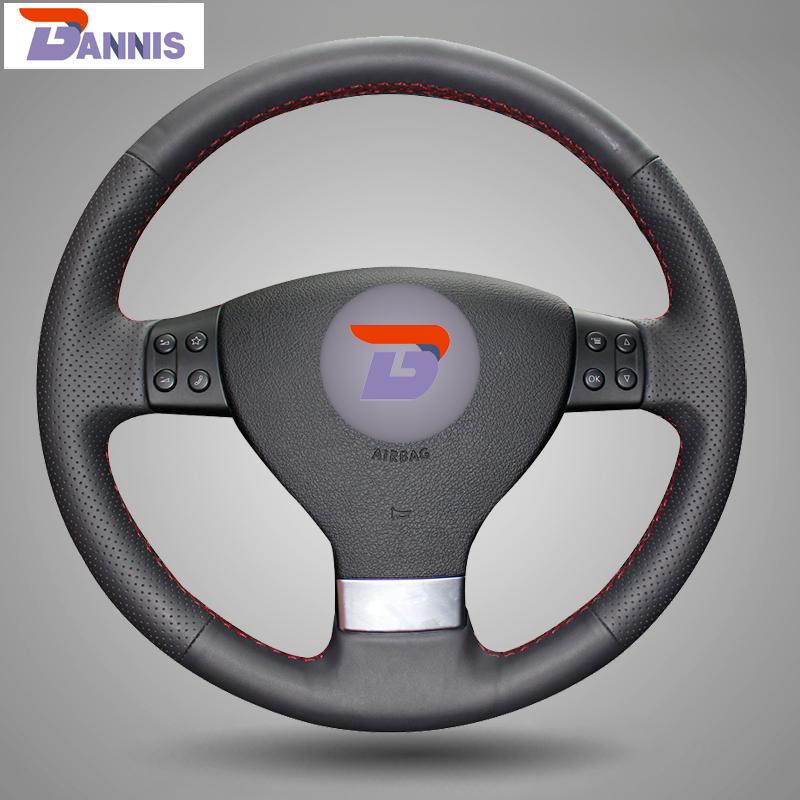Black Artificial Leather Steering Wheel Cover for Volkswagen Golf 5 Mk5 Sagitar Magotan VW Passat B6 Jetta 5 Mk5 Tiguan 07-2011(China (Mainland))