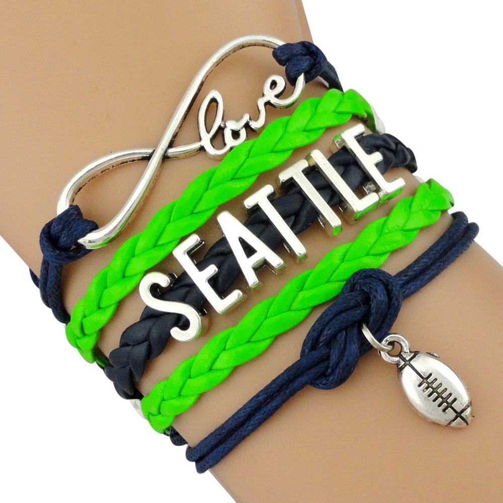 (10 Pieces/Lot) Infinity Love Seattle Football Team Seahawks Bracelet Navy Green Grey Custom Sports Bracelet Drop Shipping(China (Mainland))
