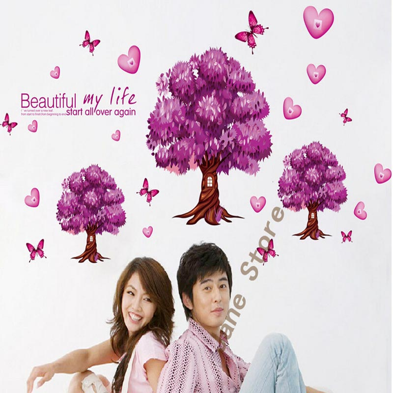 2015 new Romantic purple trees Fashion warm wall stickers  Home wedding bedroom decoration sticker  9228-y