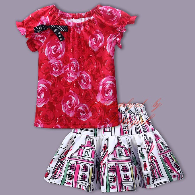 Summer Style Outfits Print Floral Bow T-shirts with  Floral TuTu Skirts 2016 Baby Girl Princess Fashion Sets Kids Outfits<br><br>Aliexpress