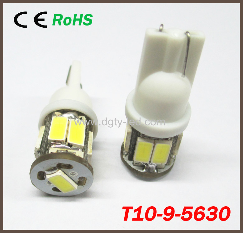 50pcs White T10 5630 LED 9SMD Bulb Automobile Car Side Wedge Reverse Signal Light Lamp Dome Reading Interior Lights W5W 168 192(China (Mainland))