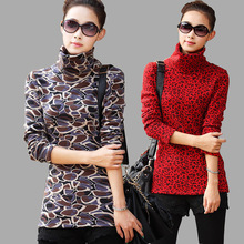 2015 New Women's Winter Thicken Velvet Turtleneck Pullover Leopard Printed Sweaters Women Fashion Long Sleeve Plus Size Sweater(China (Mainland))