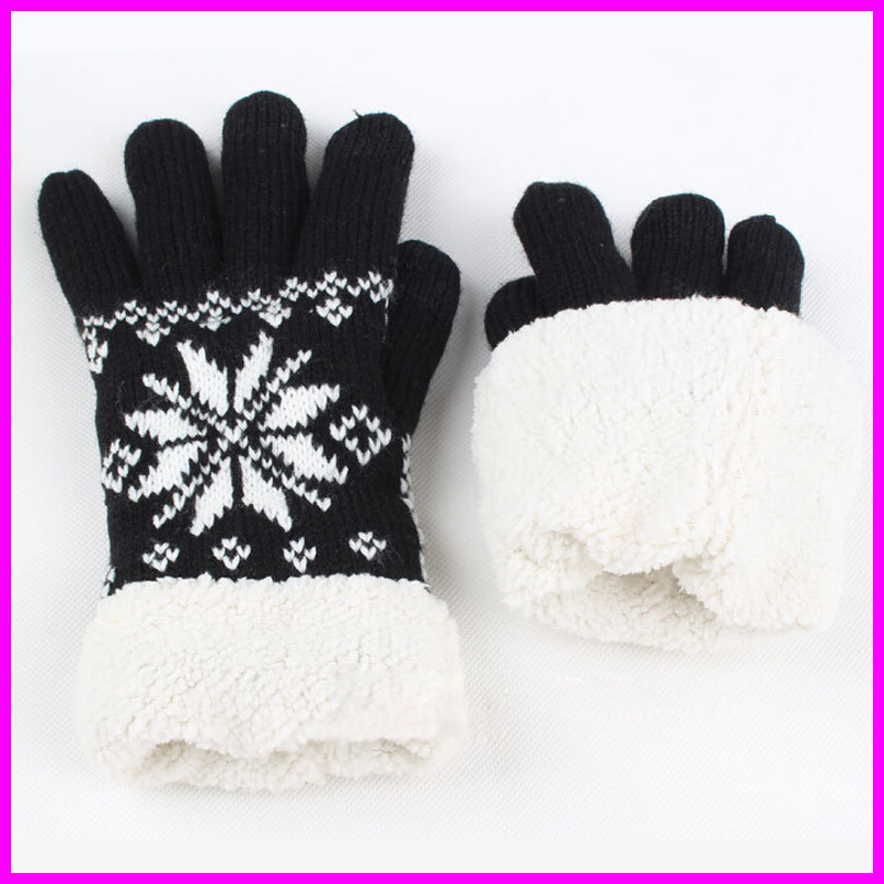 Winter Gloves Mittens Women Touch Screen Gloves Kntitted Cashmere Inner Snowflake Thick Gloves Touchscreen Glove(China (Mainland))