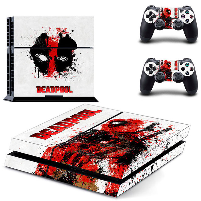 Deadpool Playstation 4 console decals + pad decals