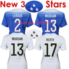 Soccer Jersey USA Women Jersey 2015 MORGAN Lady 15/16 USA Women Girl LLOYD WAMBACH Female Shirt Away Blue Home White 3 Stars New(China (Mainland))