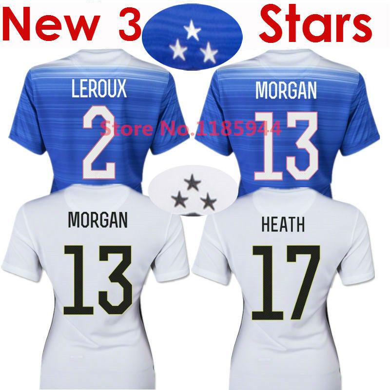 Soccer Jersey USA Women Jersey 2015 MORGAN Lady 15/16 USA Women Girl LLOYD WAMBACH Female Shirt Away Blue Home White 3 Stars New(China (Mainland))