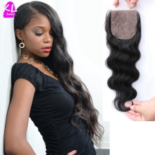 Brazilian Virgin Body Wave Silk Base Closure Free Middle 3 Part Silky Body Wave Hair Closure 6A Grade 4*4 Silk Lace Closure