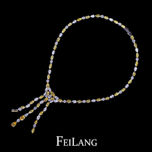 Women Sexy White Gold Plated Yellow AAA Swiss CZ Diamond Long Tassel Bridal Jewelry Sets for