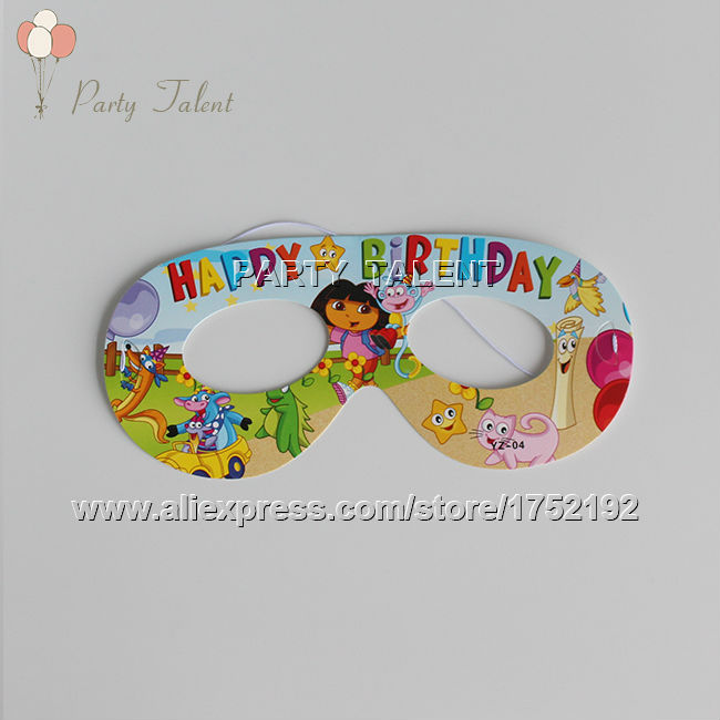 Party supplies 10PCS children kids DORA THE EXPLORER theme party decoration mask with cartoon pattern(China (Mainland))