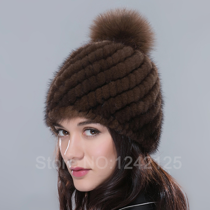 Parent-child New Special promotion women girl fashion Luxurious winter warm genuine leather fur Mink Hair ball Weave hat cap(China (Mainland))