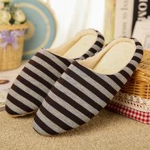Pantoffel frauen Heißer verkauf Gestreiften Boden Weichen Hause Hausschuhe Warme Baumwolle Schuhe Frauen Hausschuhe Slip-On Schuhe für schlafzimmer Haus(China)