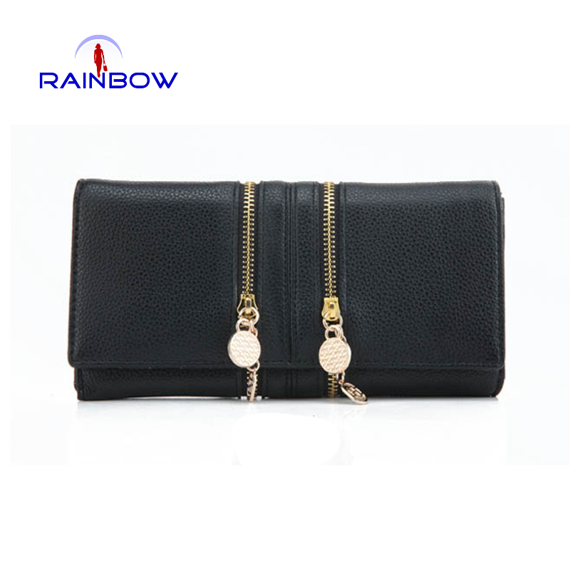 Fashion Women Wallets Simulated Leather Wallet Double Zipper Day Clutch Purse Wristlet Handbags Carteira Feminina(China (Mainland))