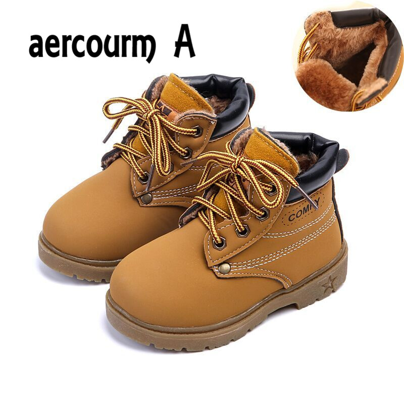 aercourm A Shoes 2017 Winter Girl Boots Plush Children Snow Motorcycle Boots Lace-Up Rome Martin Boots Winter Kids Shoes