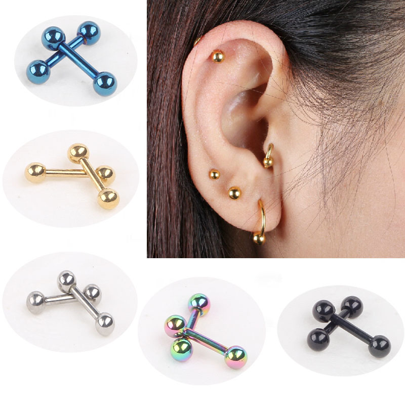 2pc Stainless Steel Fake Ear Plugs Piercing Tragus Earring Barbell Ear Piercing Cartilage Body Jewelry(China (Mainland))