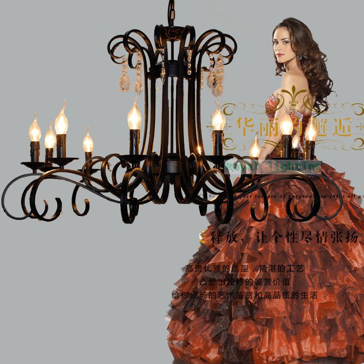 Italy Antique Black Chandelier 12 Led Candle Lights