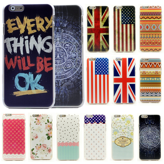 """6S Cartoon Flower Stripe Anchor Navy US UK Flag Tribal Pattern Matte Hard Case for iphone 6 6S 4.7"""" Cell Phone Protective Cover(China (Mainland))"""