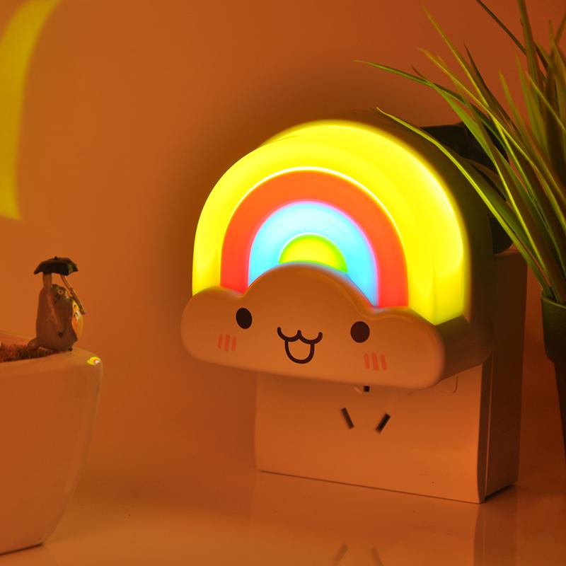 Cute Mini Rainbow Automatic Voice Sensor Wall LED Night Light 220V Infant  Bedroom Beside Emergency Night Light Lamp in Night Lights from Lights    Lighting. Cute Mini Rainbow Automatic Voice Sensor Wall LED Night Light 220V