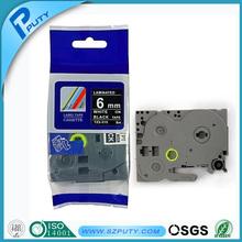 Compatible white on black 6mm TZ label tape TZ-315