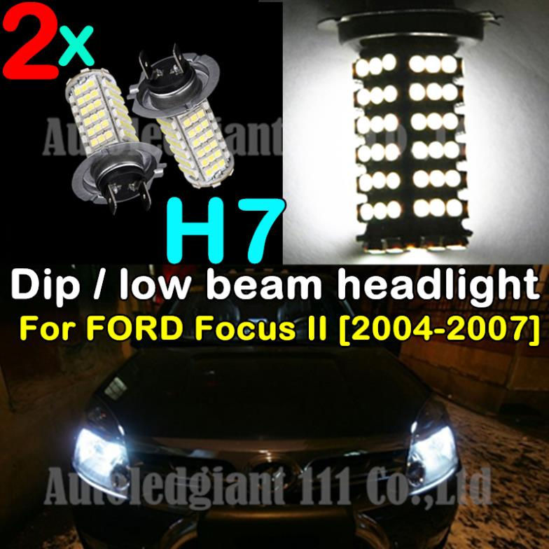 2pcs 1210 LED 120 SMD H7 Super Bright Bright White 6000K Car Light Dip Low Beam Headlight For FORD Focus II 2004 2005 2006 2007(China (Mainland))