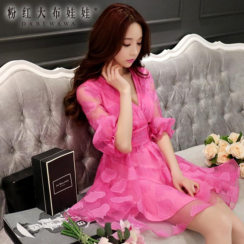 V Collar Dress Pink Doll 2016 summer new waist  sexy dress.