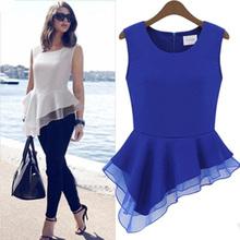 New Summer Elegent Womens Vintage Chiffon Peplum Frill Bodycon Casual Party Tank Shirt Tops Sleeveless Blouse