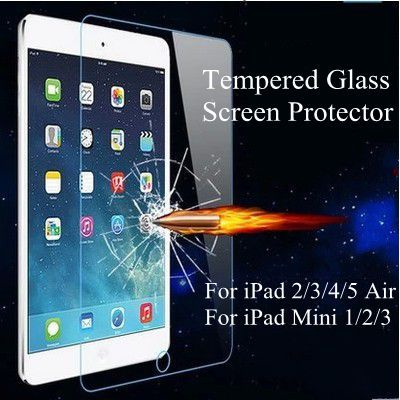 Tempered Reinforced Glass Screen Protector Case For iPad 2 3 4 /5 Air For iPad Mini 1 2 3 Slim Clear Front Film With Retail Box(China (Mainland))