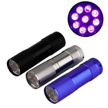 1pcs 9 LED UV Torch Ultra Violet AAA Mini Aluminium Flashlight Lamp Torch Popular New(China (Mainland))