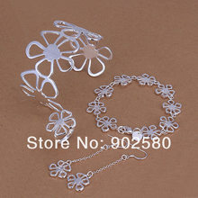 Free Shipping  Sliver Plated Jewelry Set,Factory Directly Selling Jewelry,Flower KIng Set. S235(China (Mainland))