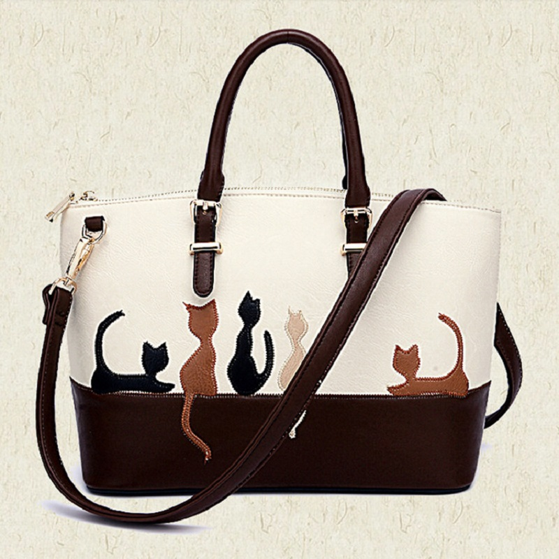 New Fashion bolsa feminina Cute Kitty women PU leather Top-handle handbags Crossbody Bags Tote Purse For Female Free Shipping