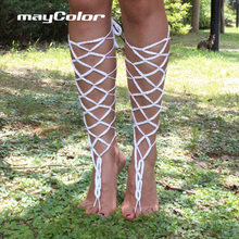 2016 European and American fashion jewelry handmade cotton crochet Anklet footlet Crochet Barefoot Sandals
