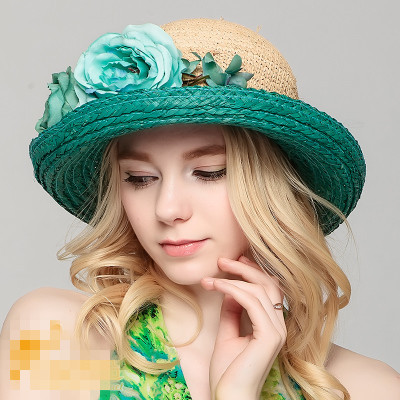 New Church Kentucky Derby Wedding Cocktail Party nature straw Sun hat Dress hat turquoise orange ,yellow pink(China (Mainland))