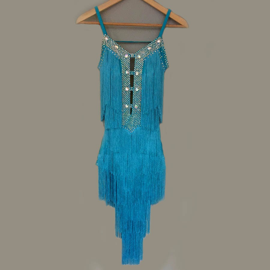 New style Latin dance costume sexy senior stones tassel latin dance dress for women latin dance competition dresses S-4XL 3