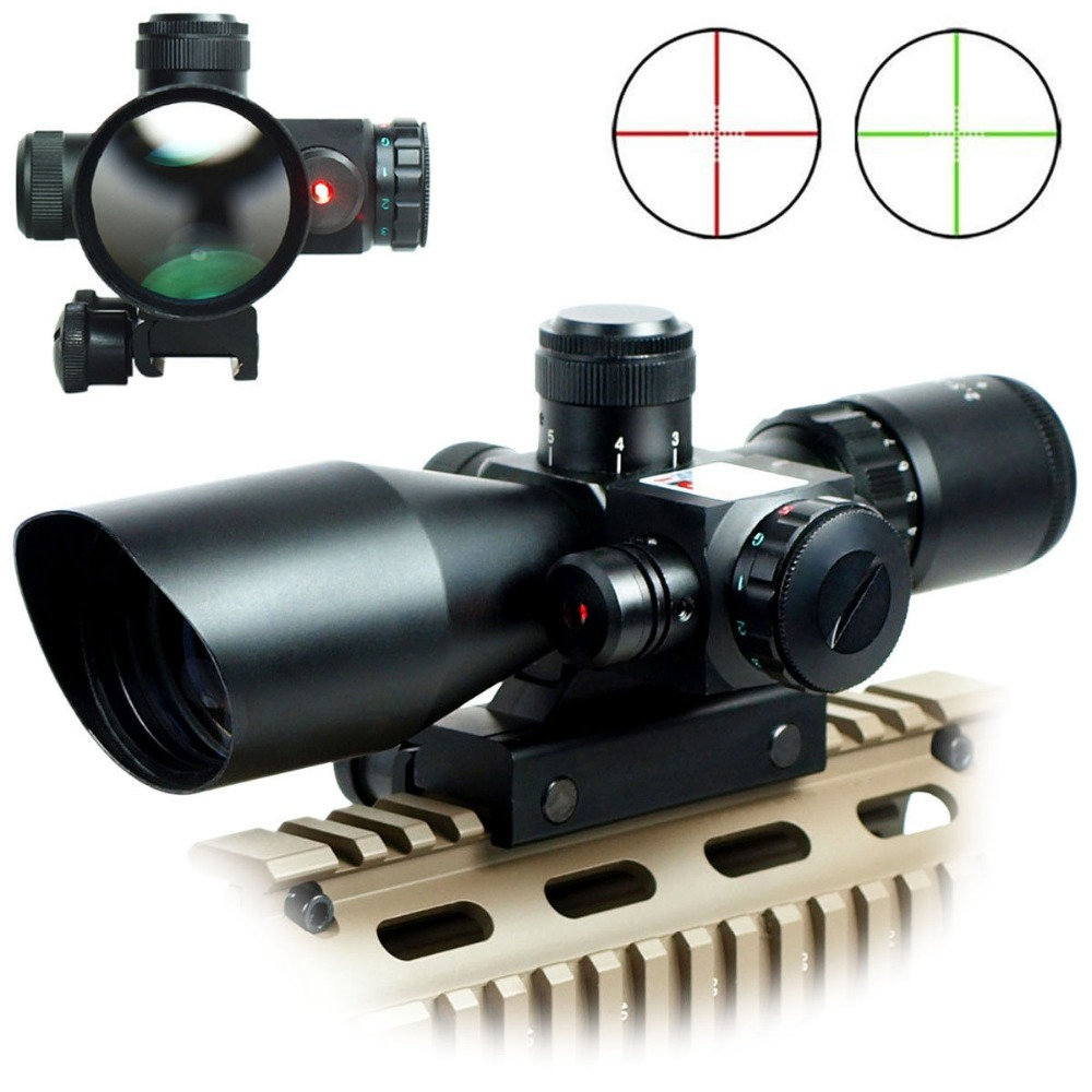 Фотография Riflescopes Hunting 2.5-10x40E/R Tactical Rifle Scope Mil-dot Dual illuminated w/ Red Laser & Mount Airsoft