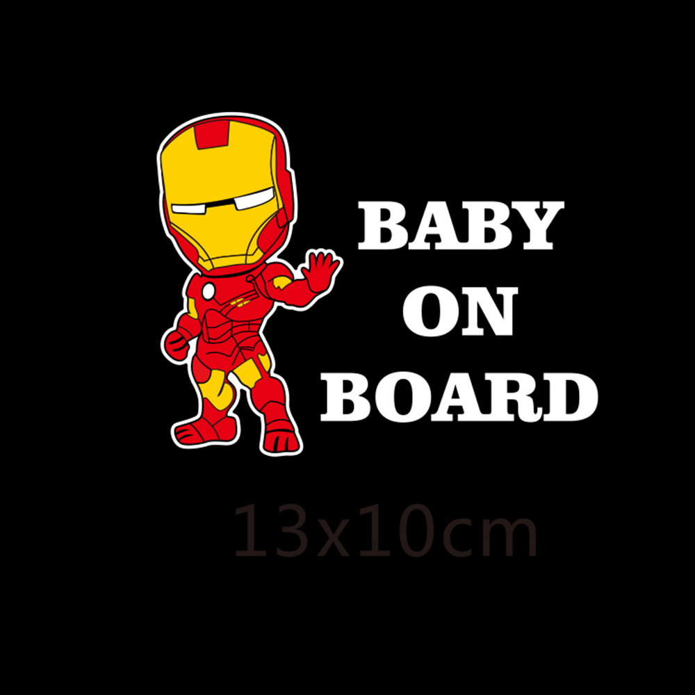 Reflective Car Decoration Superheroes Baby On Board Car Stickers And Decals for Volkswagen Skoda Honda Hyundai