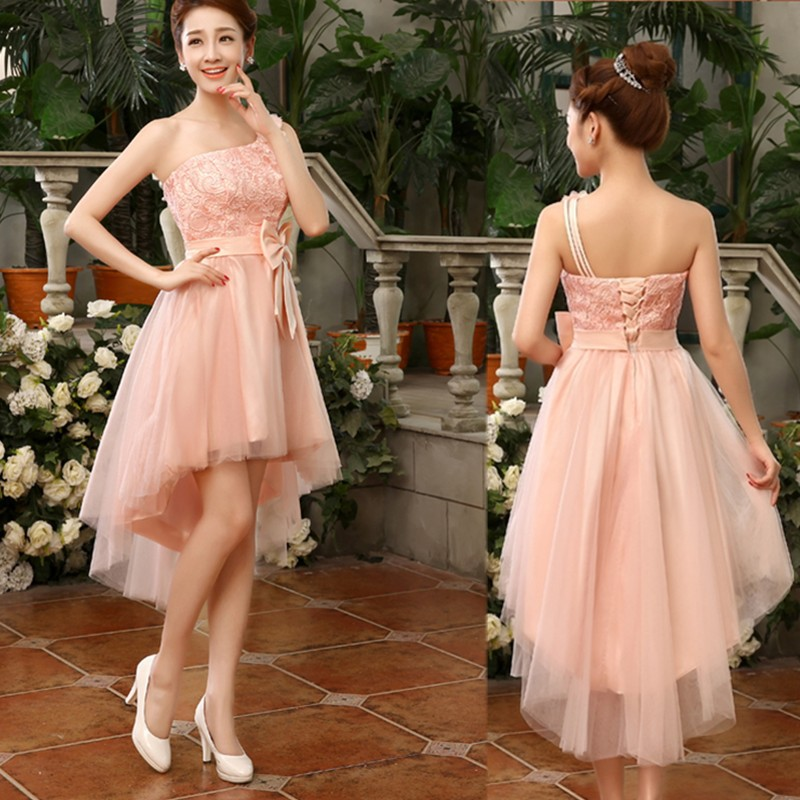 2015 new fashion one shoulder high low bridesmaid dress for Short flowing wedding dresses