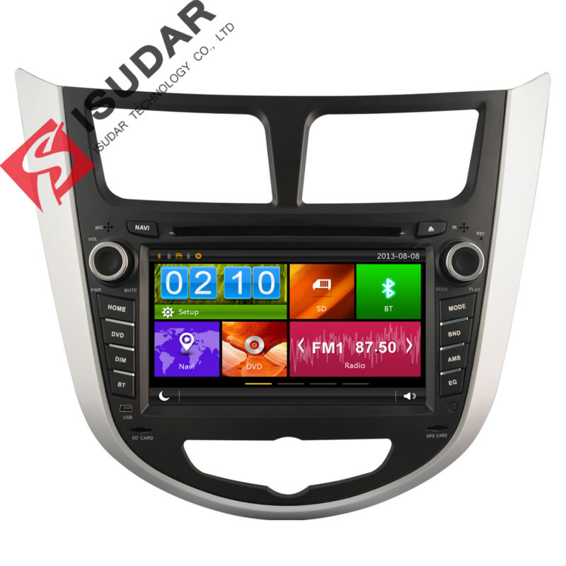 Two Din 7 Inch Car DVD Player HYUNDAI/Verna/I25/Solaris 2011- 3G Host Radio GPS Navigation BT 1080P Ipod Free Map  -  Shop317945 Store store