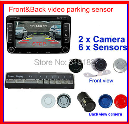 Фотография dual front and after video parking  6 radar system with front and back camera ,parking video camera monitor/DVD/VCR  6 sensor