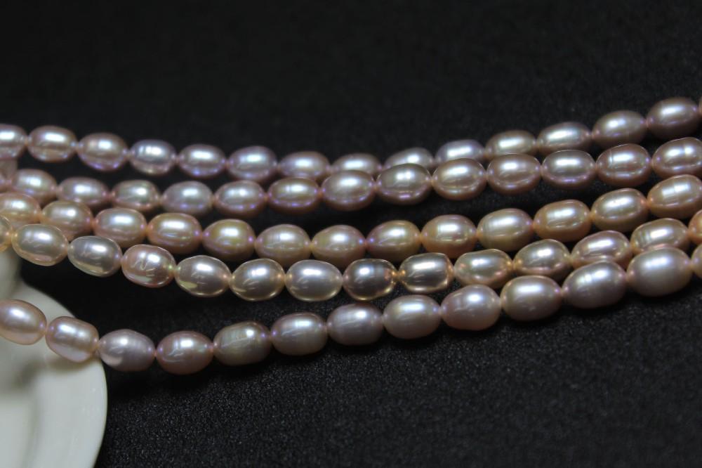 7-8 mm Original Natural Púrpura Pulsera Brazalete de Perlas de agua dulce Akoya Rice J3222