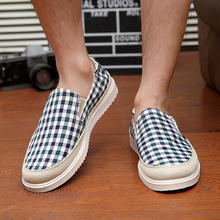 2016 Zapatillas Deportivas Mujer Led Shoes Yeezy In The Summer Of Korean Men's Canvas Shoes Casual Men Gingham Pedal Loafers(China (Mainland))
