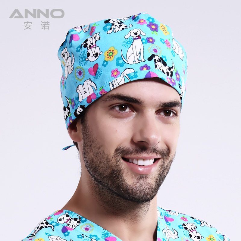 Light Doggie dog pattern printing Dome cap scrub hats women nurse short hair with comfortable and lovely cap(China (Mainland))