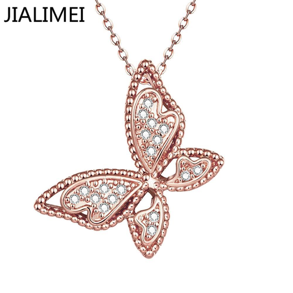 Hot Sell 18K Real Gold/Gold Plated Necklaces Pendants with High Quality Cubic Zircon For Women Birthday Gift N061-B(China (Mainland))