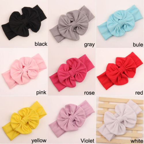 1 X Baby Girl Kids Soft Stretch Stripe Rabbit Bow Bowknot Turban Flower Hairband Headband Hot Hair Band Accessories xth179-1(China (Mainland))