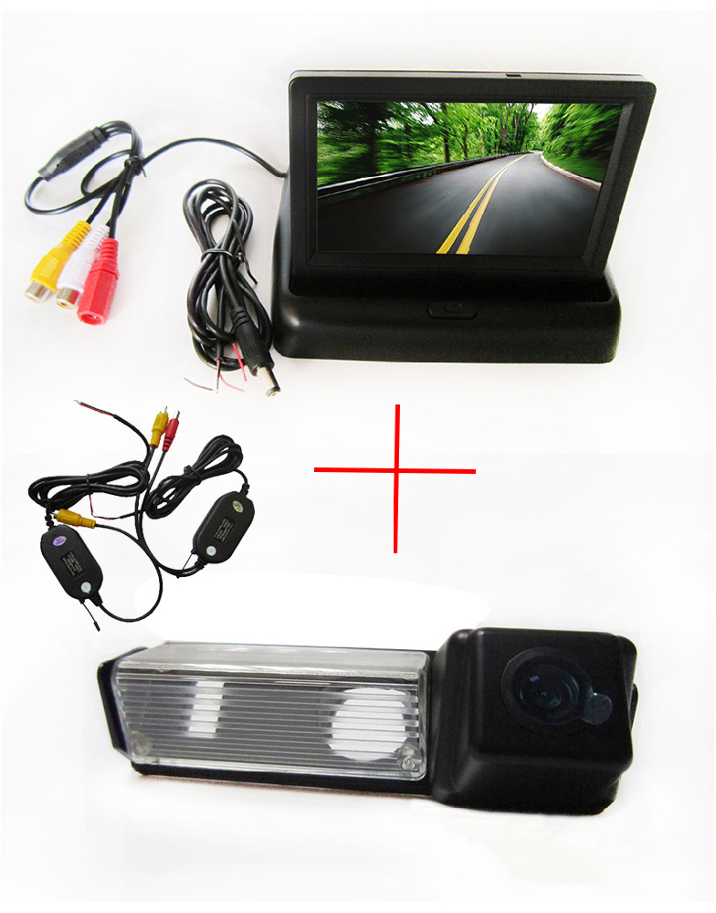 Wireless Color CCD Car Rearview Camera for Mitsubishi Dakar Challenger Grandis Nativa Pajero Sport+4.3 Inch foldable LCD Monitor(China (Mainland))