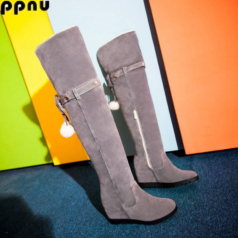 ppnu womens winter over the knee snow boots women fashion nubuck shoes woman flat thigh high boots ladies round toe shoes flats