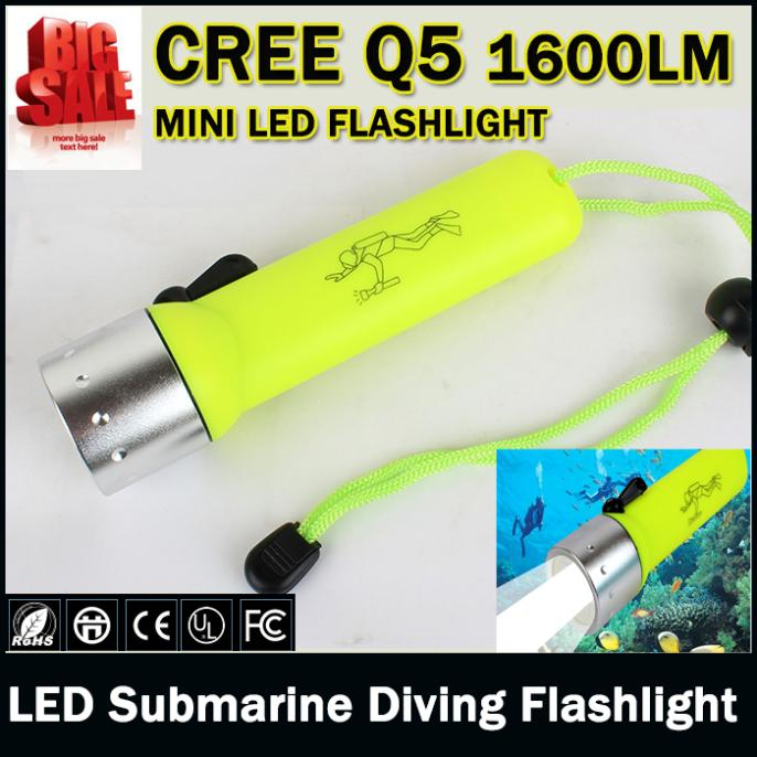 LED Submarine Light Diving Flashlight Underwater Torch Waterproof CREE Q5 Flash Light Lamp Free Shipping wholesale<br><br>Aliexpress