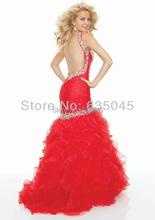 Custom made Red Satin Organza Pleat Beading Crystal Mermaid Evening Dress Prom Dress Vestidos De Fiesta