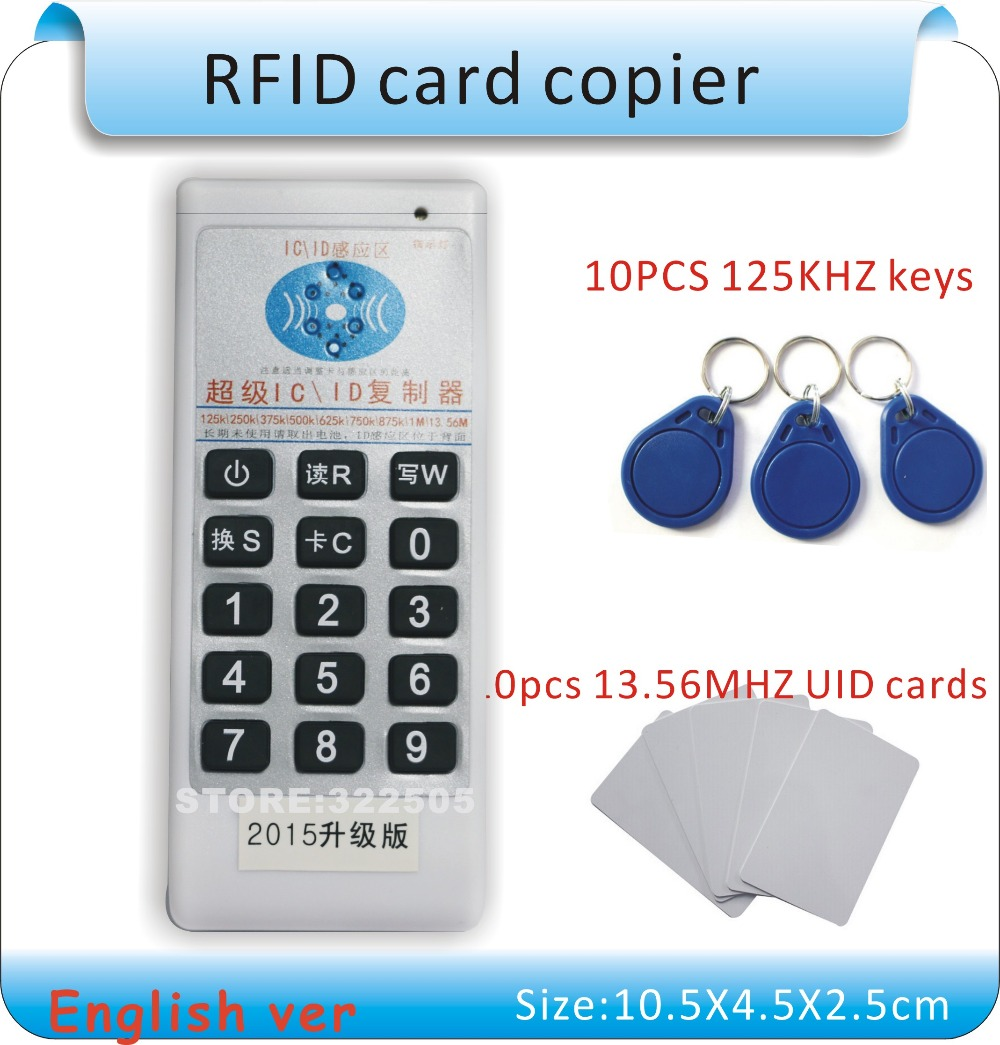 English ver Handheld 125Khz-13.56MHZ 5 frequency RFID Duplicator/Copier Writer+1125KHZ cards +113.56MHZ IC(UID) card - HeHeng-RFID store