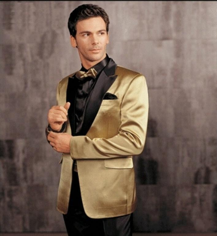 Classic Style One Button Gold Groom Tuxedos Groomsmen Men's Wedding Prom Suits Custom Made (Jacket+Pants+Girdle+Tie) K:372